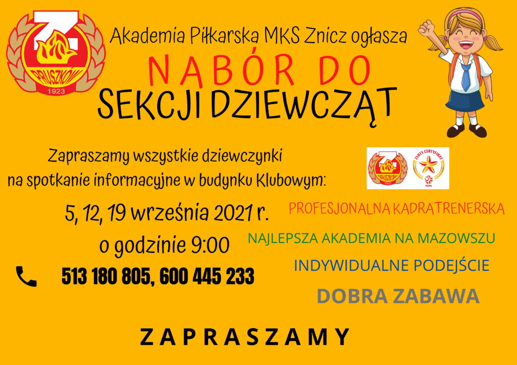 Sekcja dziewcząt w MKS Znicz! NABORY – CZAS START!